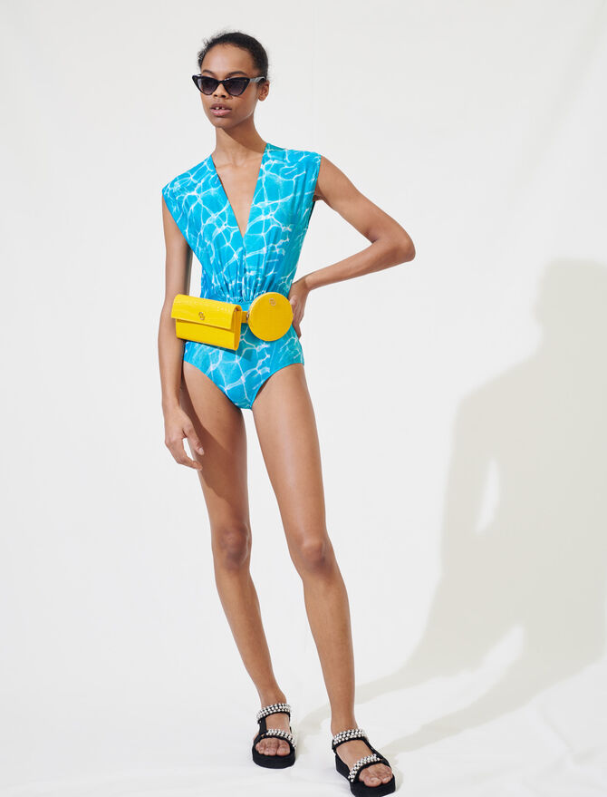Swimming pool print one-piece swimsuit - Tops & Shirts - MAJE