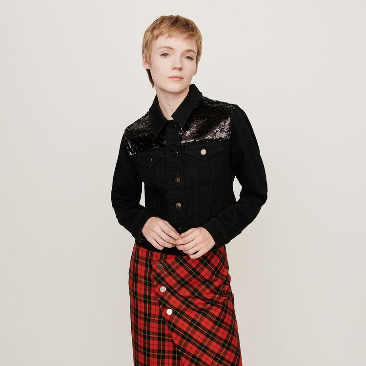 Sequin-embroidered jean jacket : Coats & Jackets color Black