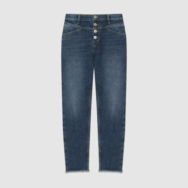 Straight, high-waist jeans : Jeans color Blue
