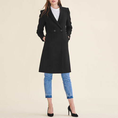 Mid-length wool frock coat : Coats color Black 210