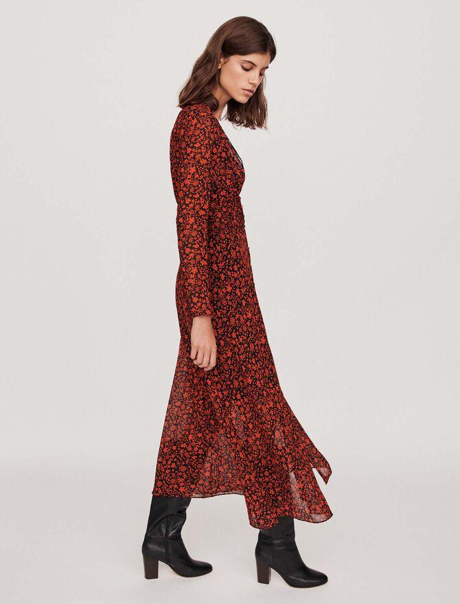 Printed-muslin scarf dress - cadeaux_tout_voir - MAJE