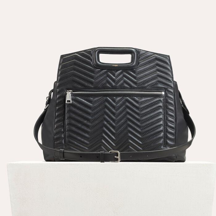 Quilted leather shoulder bag -  - MAJE