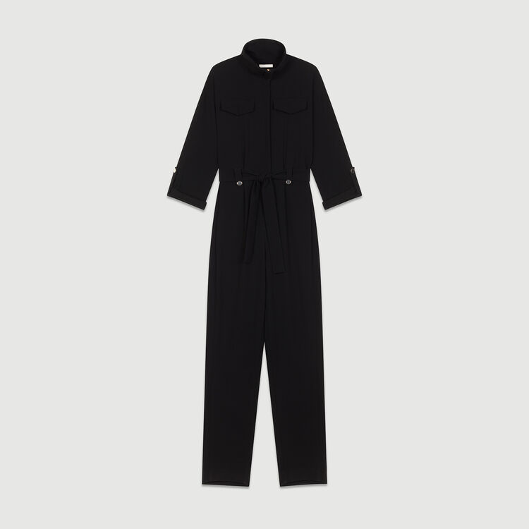 Crepe jumpsuit : Trousers color Black 210
