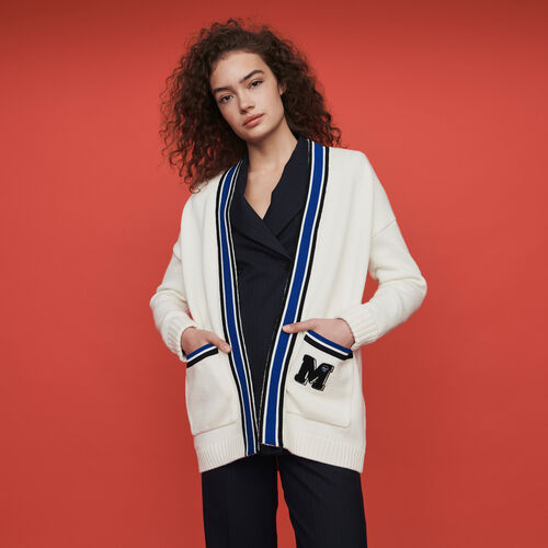 Contrast striped embroidered cardigan : Winter collection color Ecru
