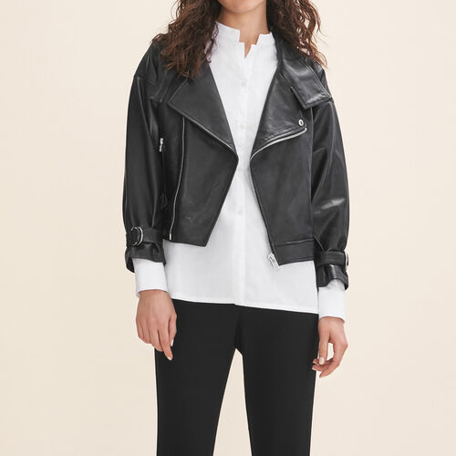 Fitted leather jacket : Blazers & Jackets color Black 210
