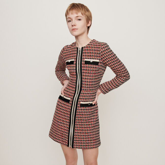 Tweed-style contrast dress -  - MAJE