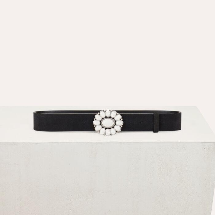 Trouser belt with flower buckle : Belts color Black 210
