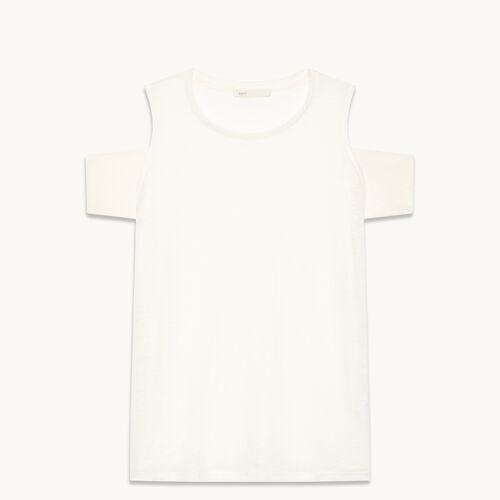 Linen off-the-shoulder T-shirt - null - MAJE