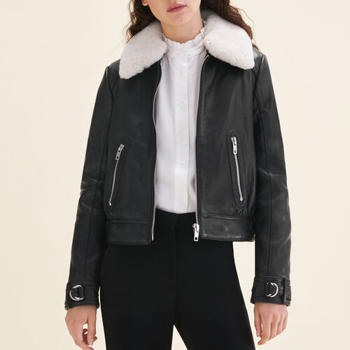 Sheepskin collar aviator jacket : Jackets color Black 210