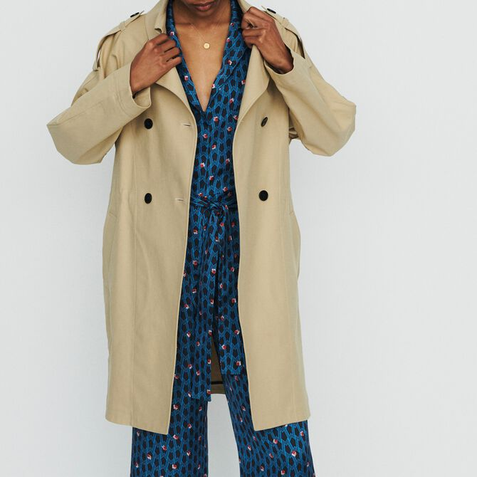 Short trench in cotton canvas - Coats - MAJE