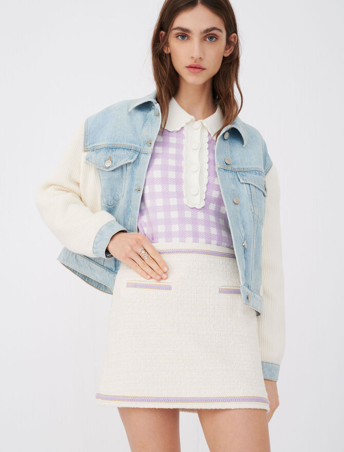 Contrast tweed skirt - Skirts & Shorts - MAJE