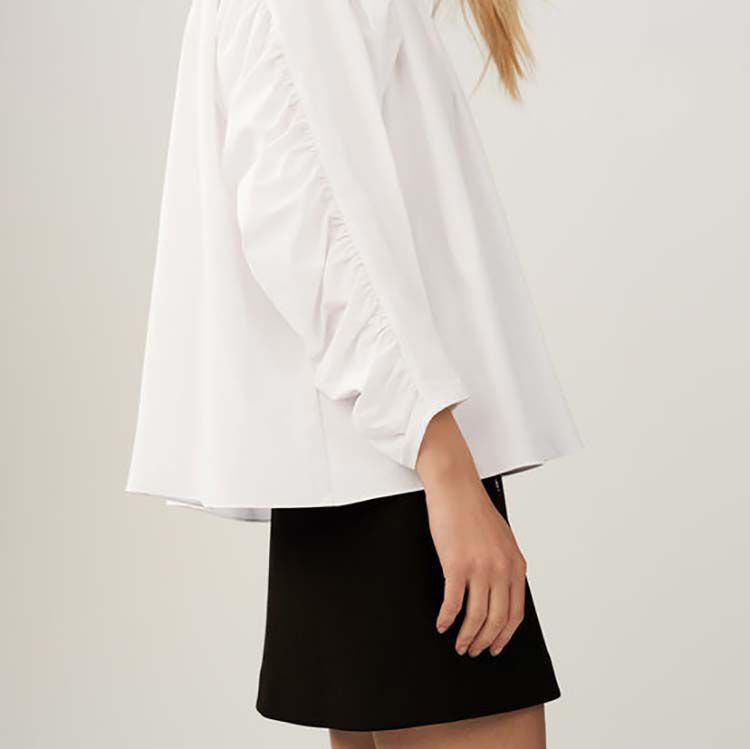 Oversize blouse with pleats : Shirts color White