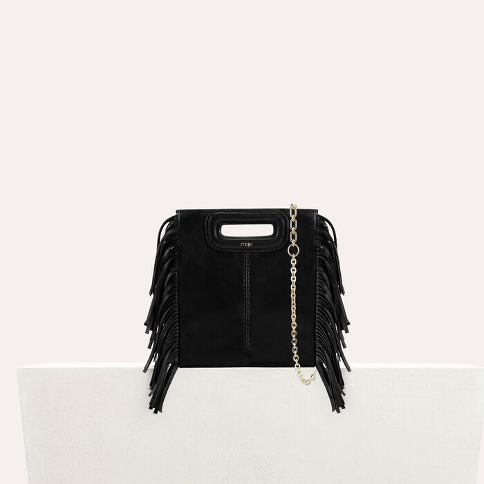 Fringed leather M mini bag with chain : M bags color Black 210