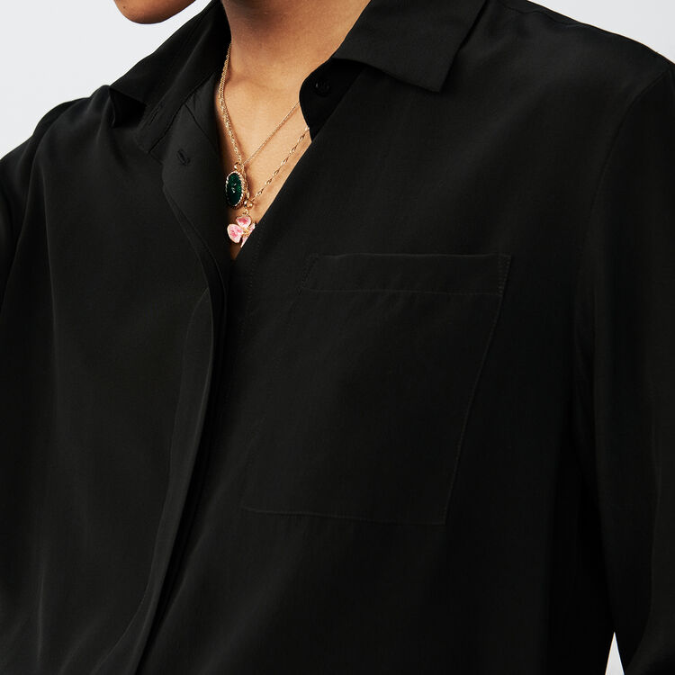 Silk blouse : Shirts color Black 210