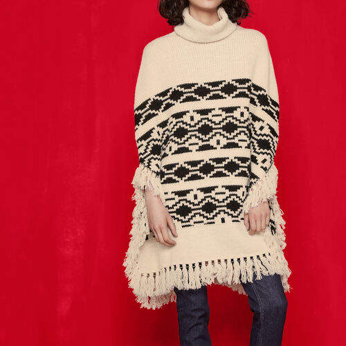 Jacquard-knit ethnic poncho : Sweaters & Cardigans color Black 210