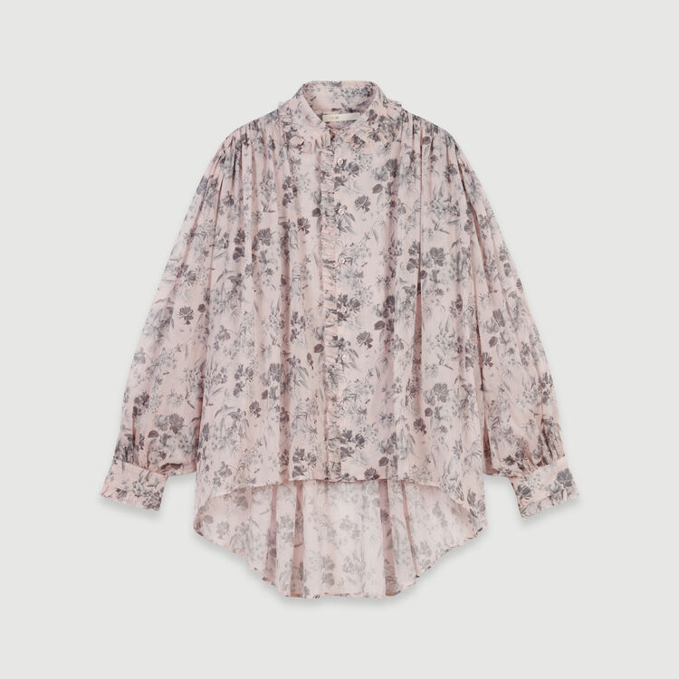 Printed- cotton voile shirt : Tops & Shirts color Purple