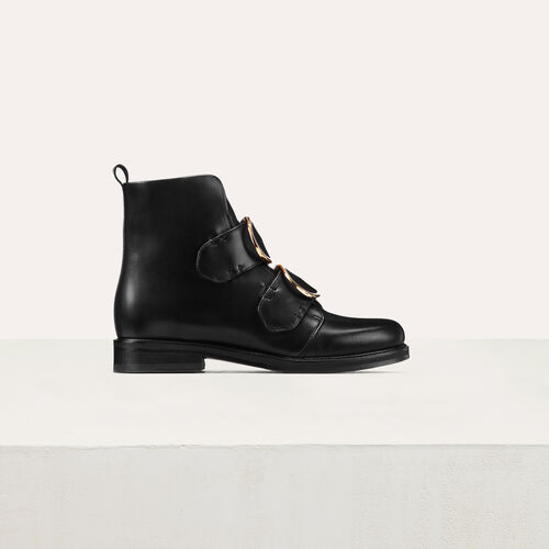 Leather ankle boots with double strap : Booties color Black 210