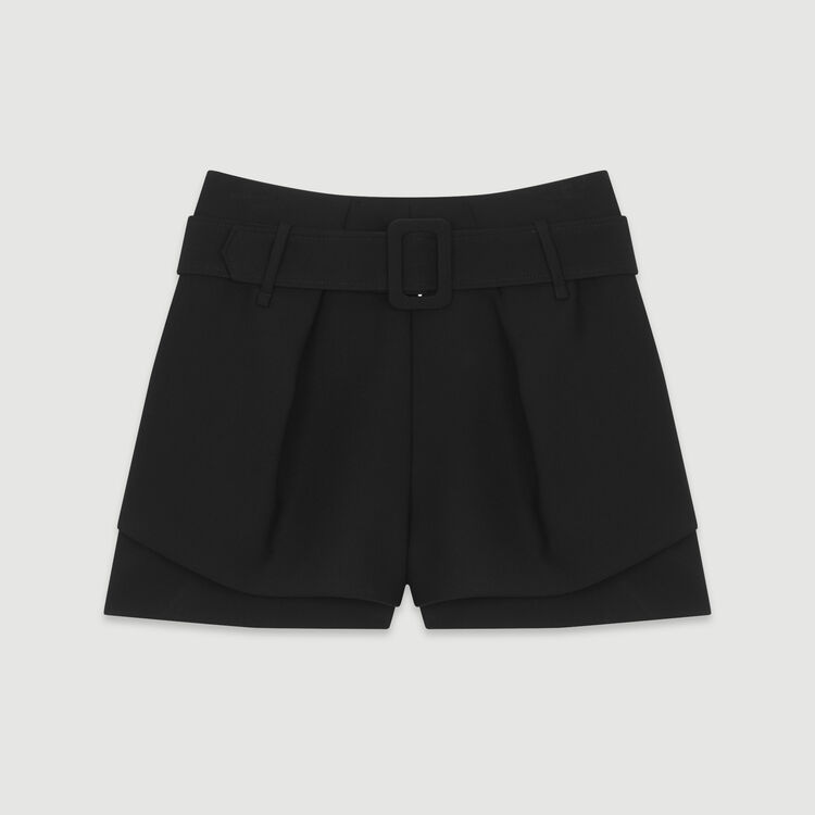 Front-pleated trompe-l'œil shorts : New in : Summer Collection color Black 210
