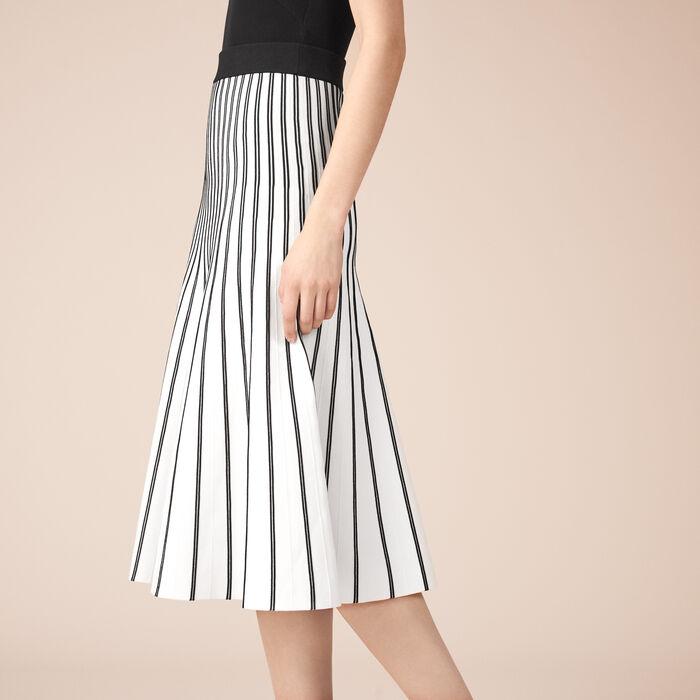 Striped knit midi skirt : Skirts & Shorts color Ecru