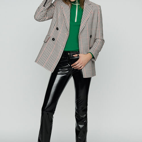 Plaid wool-blend blazer : Blazers color CARREAUX