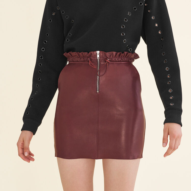 Zipped leather skirt : Skirts & Shorts color Burgundy