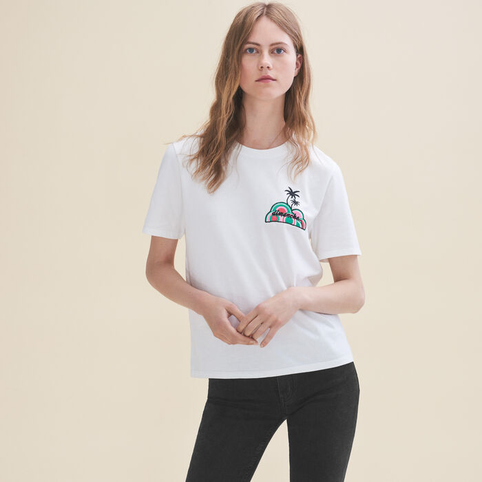 Embroidered T-shirt Sunday -  - MAJE