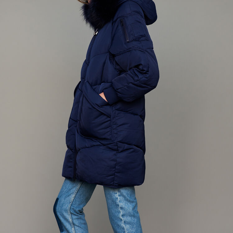 Long down jacket with fur : Coats color Navy