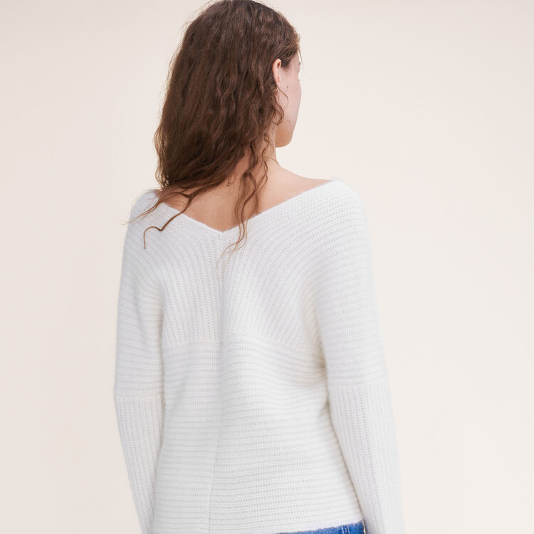 Knitted wrap front jumper : Sweaters & Cardigans color Ecru