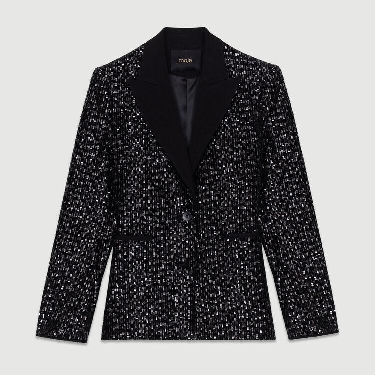 Tuxedo jacket with velvet embroidery : Blazers color Black 210