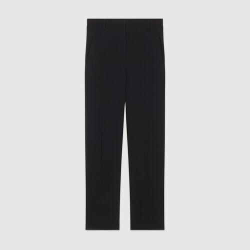 Viscose straight-leg trousers : Trousers color Black 210