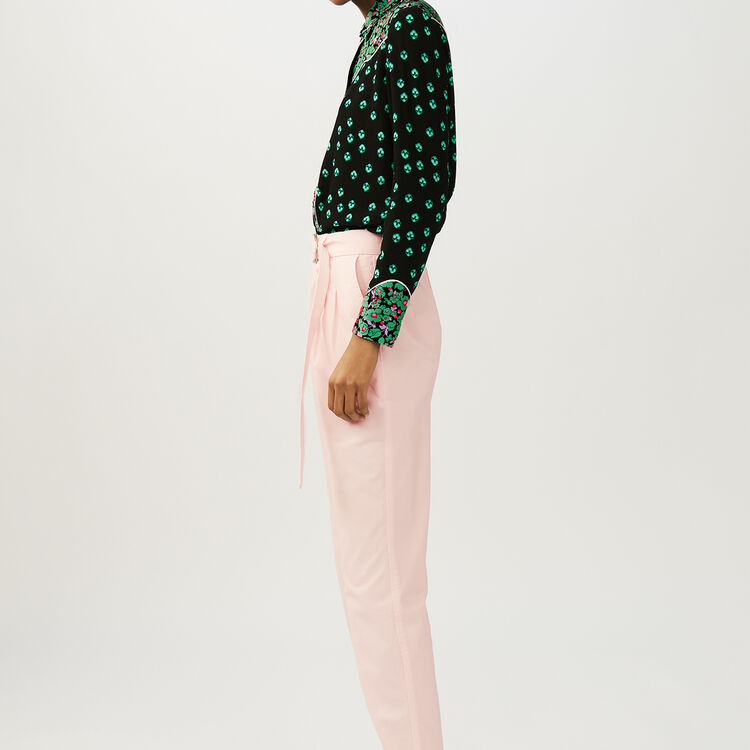Low-slung belted pants : Trousers color Pale Pink