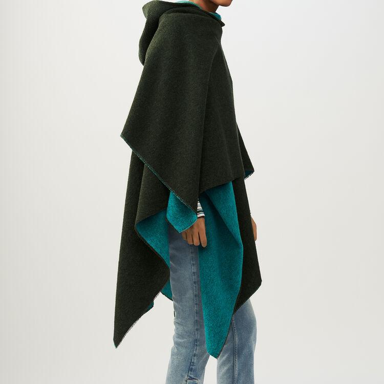 Reversible hooded poncho : Shawls & Ponchos color Khaki