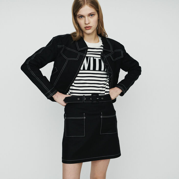 Cropped jacket with stitched detailing : Coats & Jackets color Black 210