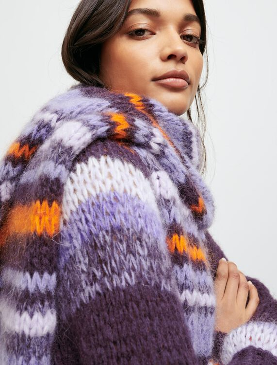Long, striped knitted scarf - Shawls & Ponchos - MAJE