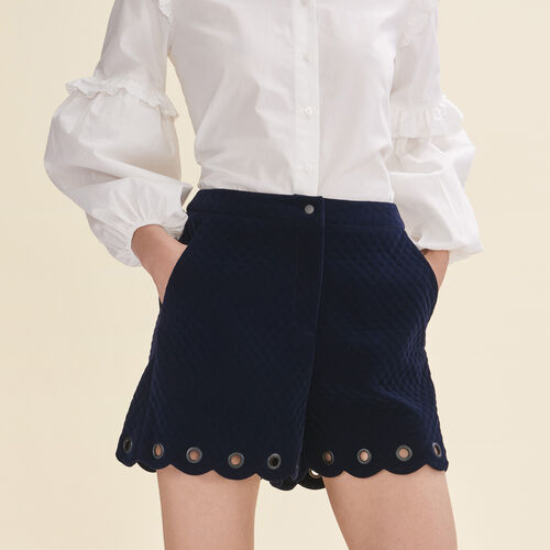 Quilted suede shorts : Skirts & Shorts color Navy