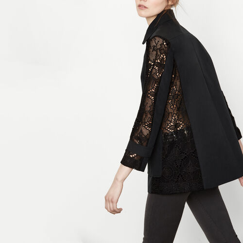 Coat with lace cut-outs : See all color Black 210