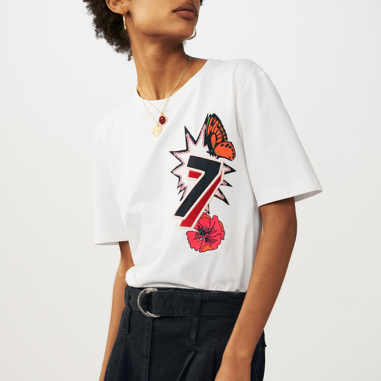 "Cotton ""77"" embroidered T-shirt : T-Shirts color ECRU"