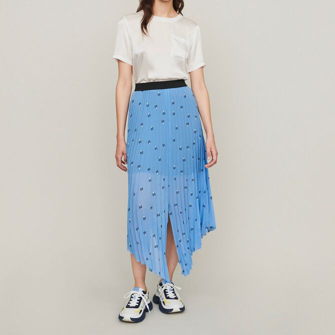 Long pleated embroidered skirt - Skirts & Shorts - MAJE