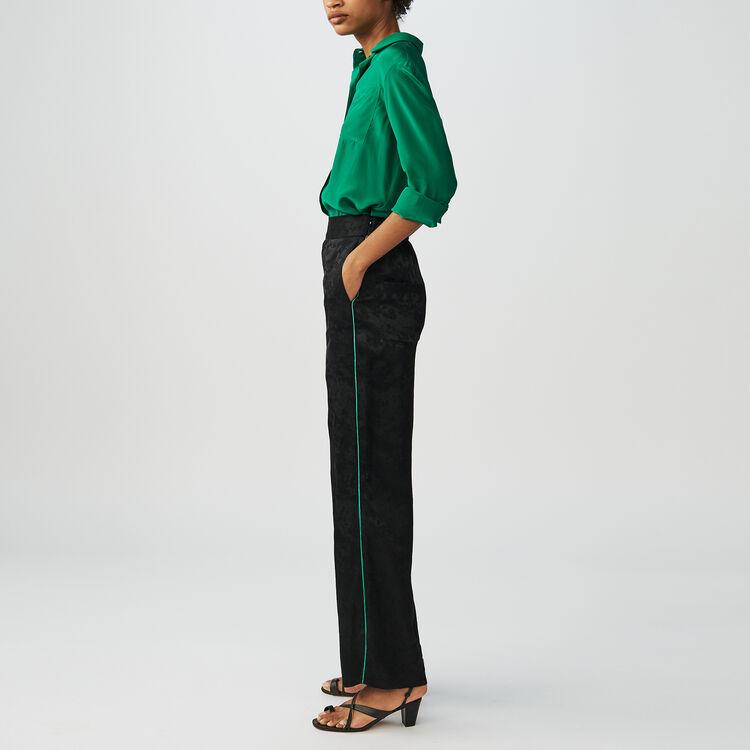 Loose jacquard pants : Trousers color Black 210