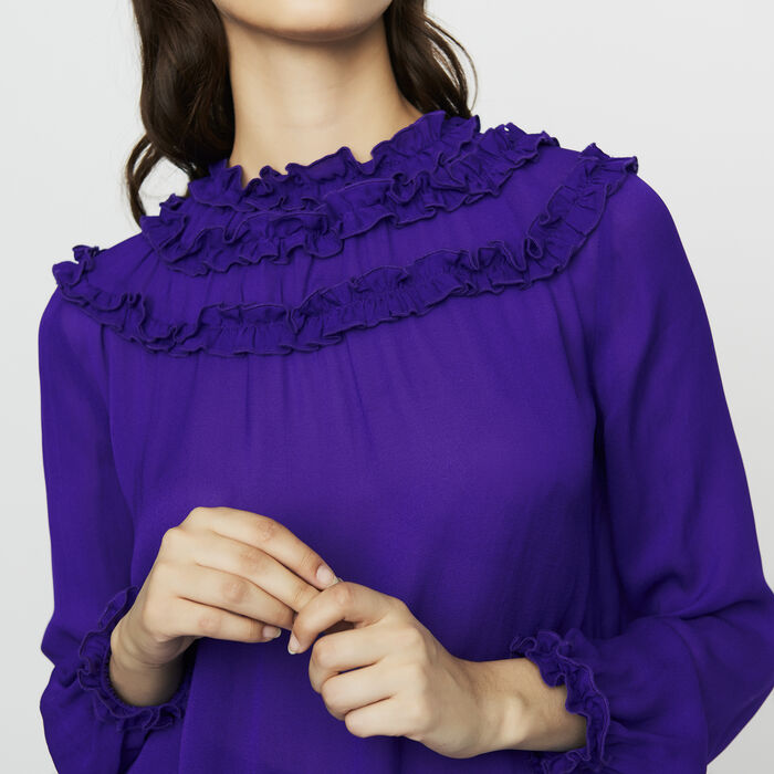 Crepe top with ruffles : Tops color Purple