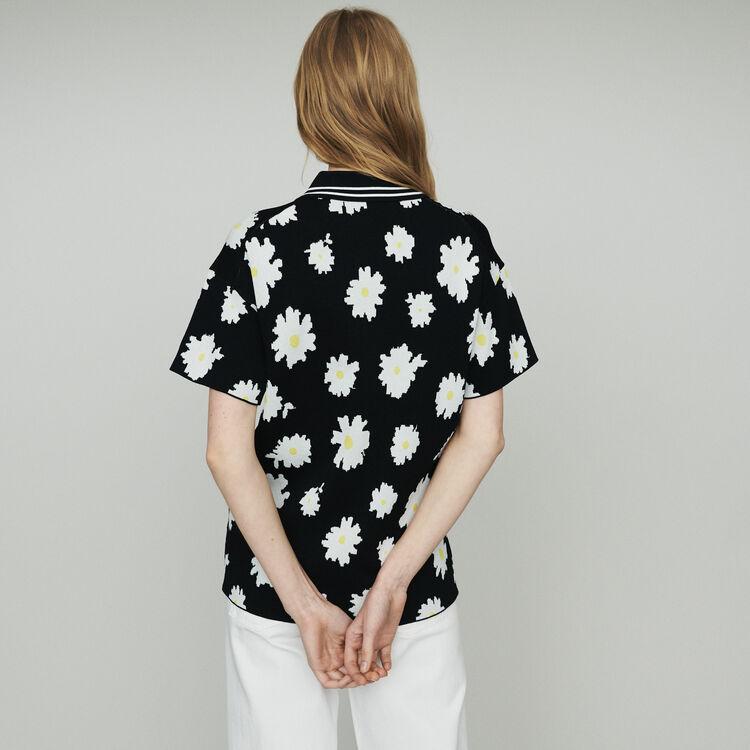 Polo in marguerite jacquard : Knitwear color Jacquard