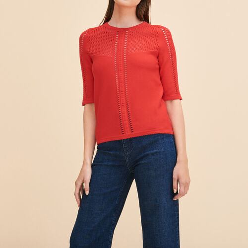 Locknit jumper with openwork : Sweaters & Cardigans color Red