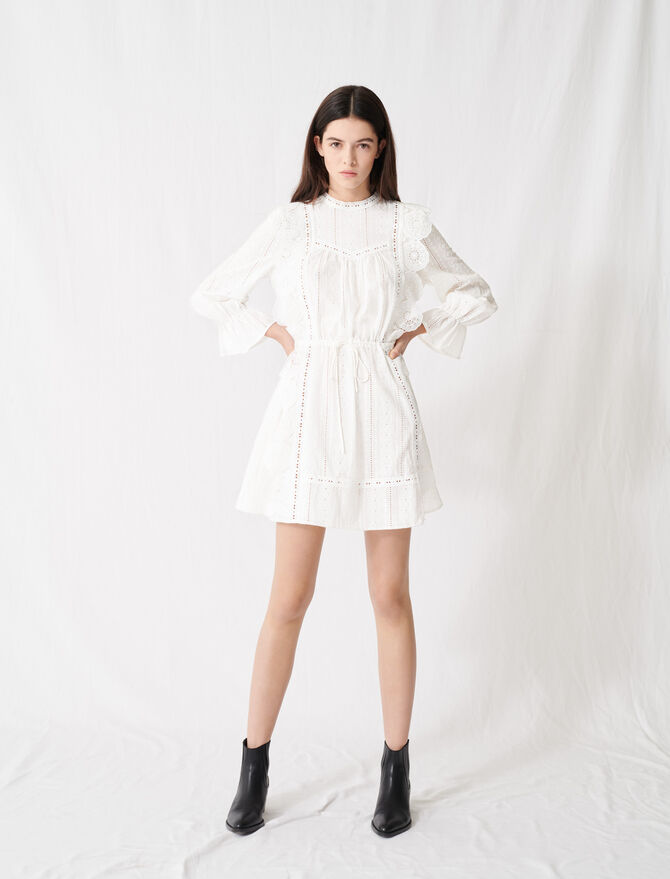 White dress with broderie anglaise - Dresses - MAJE