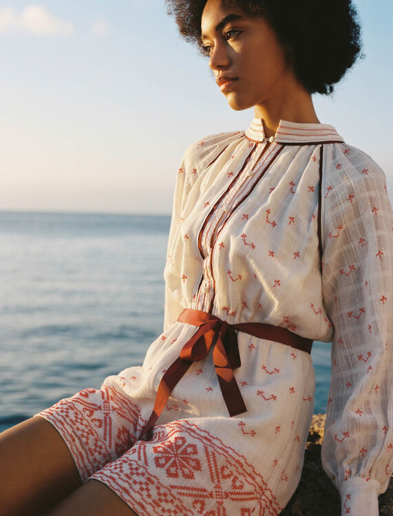 Belted embroidered playsuit - Jumpshort & Jumpsuits - MAJE