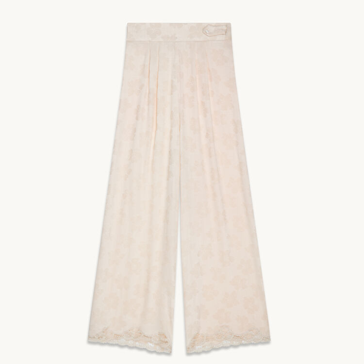 Wide-leg satin jacquard trousers : Trousers & Jeans color Nude