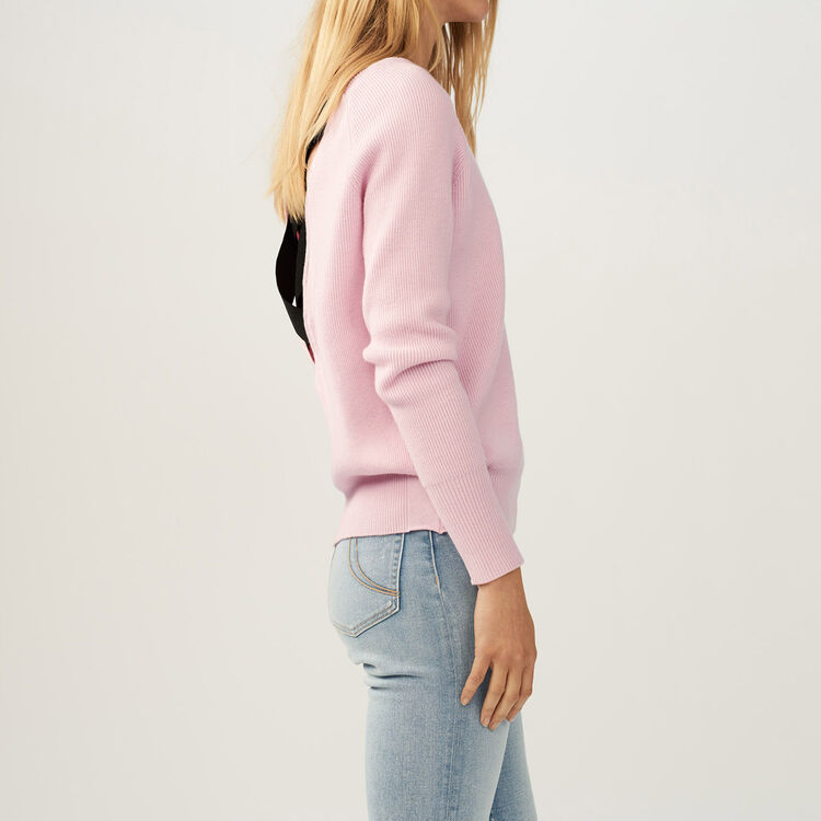 Jumper with low neckline at the back : Knitwear color PURPLE