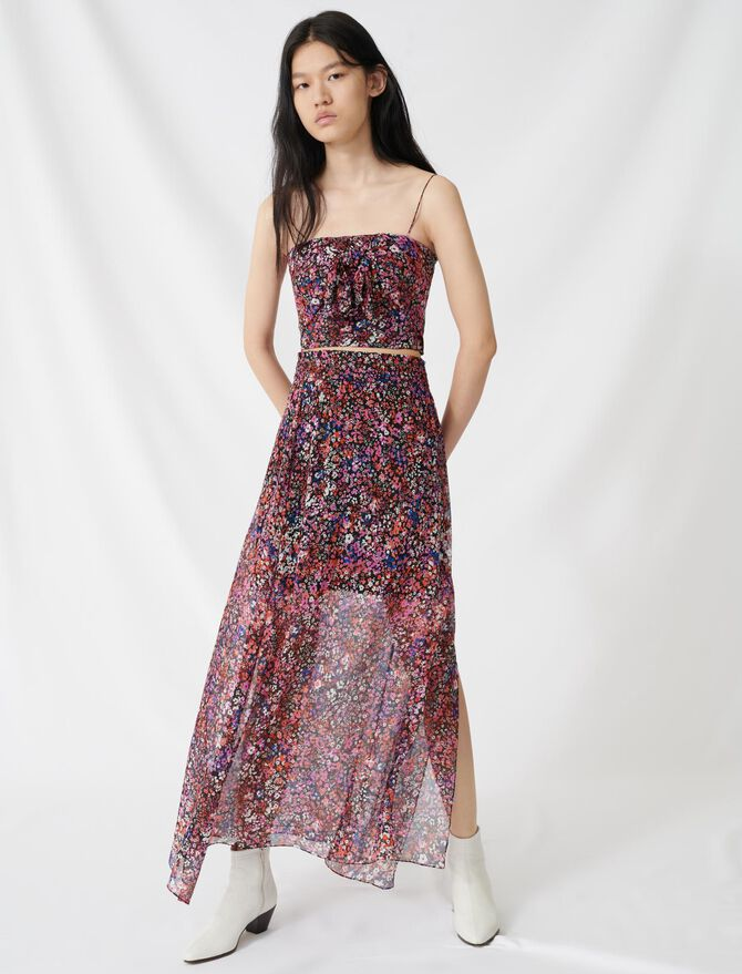 Silk skirt with floral motif - Skirts & Shorts - MAJE