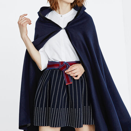 Midnight blue wool cape : Coats color Night