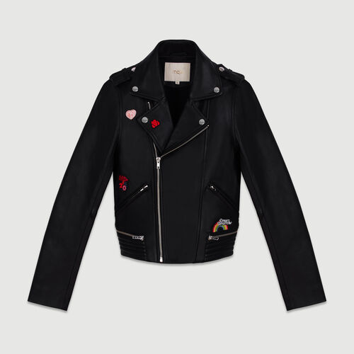 Embroidered leather jacket : Jackets color Black 210