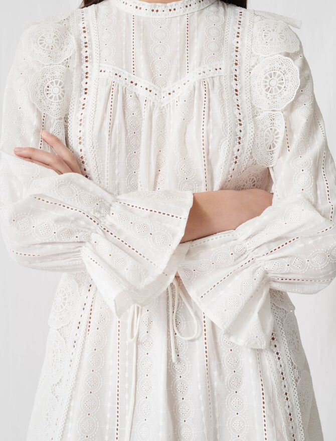 White dress with broderie anglaise -  - MAJE